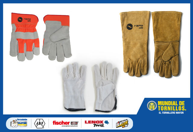 La variedad que le ofrece Mundial de Tornillos en guantes de carnaza de la marca Nara Safe le garantizan calidad.